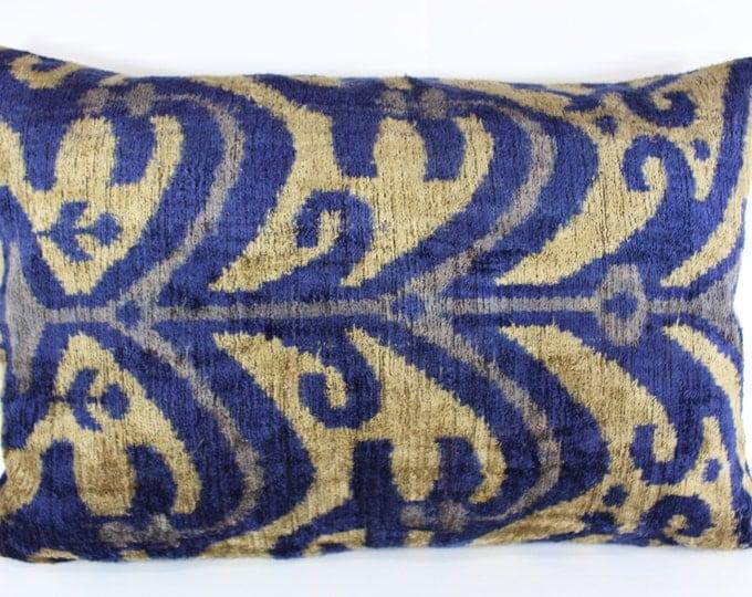 Silk Velvet Ikat Pillow Cover Lp314, Bohemian pillow, Velvet Ikat Pillow, Velvet Pillow