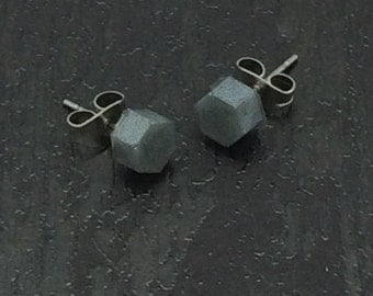 Little Silver Metallic hexagon stud earrings with surgical steel posts