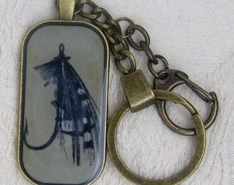 Fishing Fly Lure Antique Bronze Key Ring/Pendant Rectangle/Oblong