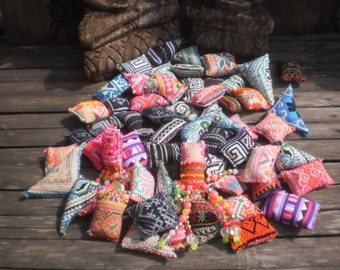 50 Textile Pockets HandMade with Upcycled Hmong Hilltribe Embroidery