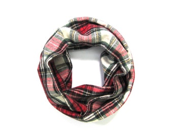 Red and Green Scarf, Flannel Scarf, Toddler Scarf, Unisex Scarf, Children's Clothing, Baby Shower Gift, Bib Scarf, Ready to Ship