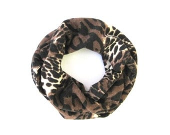 Toddler Scarf, Leopard Scarf, Brown Leopard Scarf, Infinity Scarf, Children Clothing, Baby Bib Scarf, Girl Scarf, Baby Gift, Ready to Ship