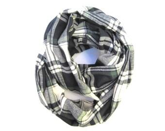 Plaid Flannel Scarf, Infinity Scarf, Blue Plaid Scarf, Womens Gift, Eternity Scarves, Fashion Scarf, Teen Scarf, Ready To Ship
