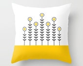 36 colours, SPRING SHOOTS Minimalist Flowers Pattern Pillow, Crocus yellow, Scandinavian style, Faux Down Insert, Indoor or Outdoor