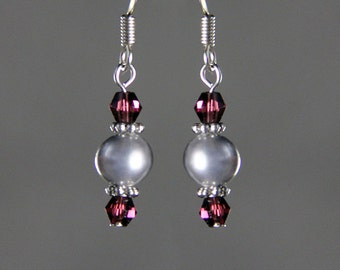 Gray Charcoal pearl burgundy drop earrings Bridesmaids gifts Free US Shipping handmade Anni Designs
