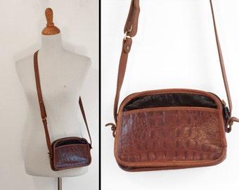 Black & Tan Mini Purse Dooney Look Handbag All Leather Brass Hardware Crossbody