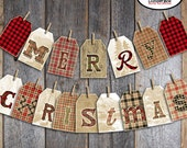 Christmas Bunting Banner - Buffalo Plaid Christmas Banner - Printable - Lumberjack Camping Flannel Lodge Cabin Woodland Woods Axe Rustic