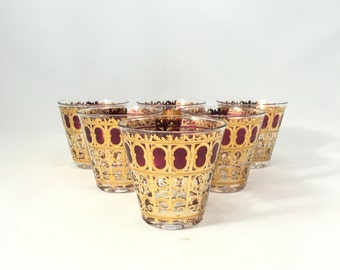 Vintage Culver Ruby and Gold Glasses, Set of 6