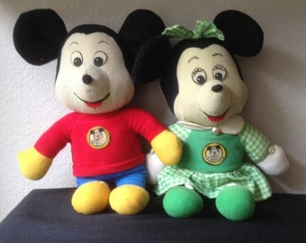 Vintage Kickerbocker Mickey and Minnie Mouse Cloth Dolls in Very Played with Condition