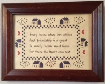 Vintage Framed and Matted Under Glass Designs with Scissors Every house where love abides