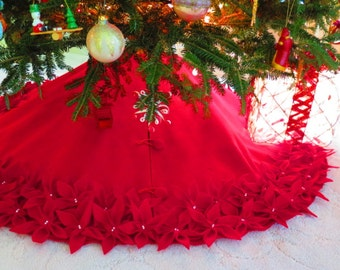 "54"" Christmas Tree Skirt in a Deep Red Premium felt with Hand cut and sewn flowers.  ""FREE SHIPPING"""