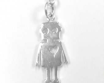 Mr. Robotic Necklace - Sterling Silver Robot with Heart Necklace