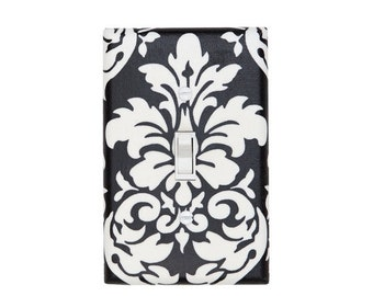 Damask Light Switch Plate Cover / Black and White / Baby Girl Nursery Decor / Teen Girl / Bathroom / Ready to Ship