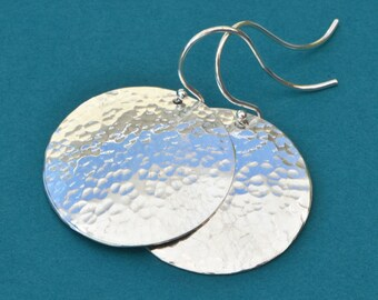 Silver Disk Earrings, Silver Circle Earrings, Dangle Earrings, Silver Jewelry, Hammered Earrings, Hammer Disk Jewelry