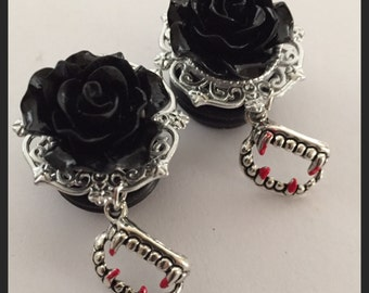 PICK SIZE Black Rose Vampire Teeth Dangle Girly Custom Goth Plugs