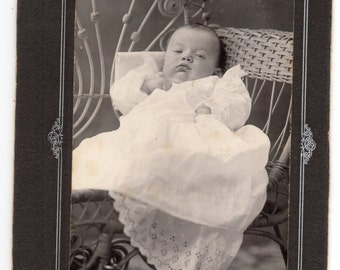 Victorian Baby Picture Small Cabinet Card Infant Wearing Long White Gown With Lace Studio Portrait Antique Vintage Photograph
