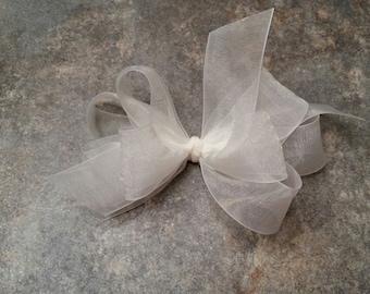 Antique White Sheer Toddler Bow