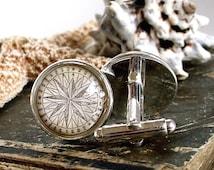 Compass Cufflinks / Cuff Links - Antique Nautical Print Cufflinks in 18mm with Glass in Silver - Pirate Jewelry
