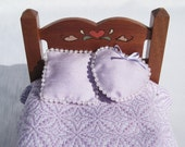 Dollhouse Coverlet Miniature Coverlet Handwoven Lavender Coverlet Star of Bethlehem Coverlet 12th Scale Dollhouse Blanket Small Doll Bedding