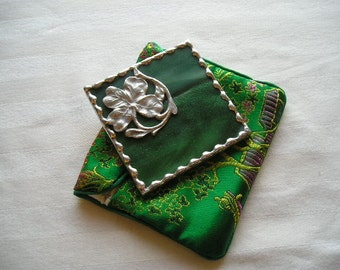 Stained Glass Purse Mirror Pocket Mirror Four Leaf Clover Green Good Luck Bath & Beauty Makeup Tool Handcrafted Made in USA