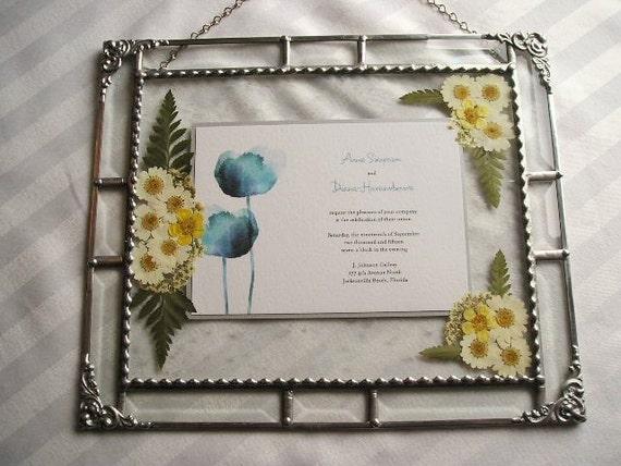 "MADE to ORDER|Framed Wedding Invitation|Pressed Flower Art|Up to 5""x7""|Wedding Gift|Wedding Keepsake|Handcrafted|Made in USA"