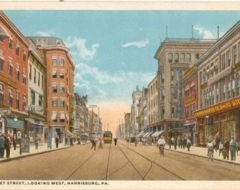 Vintage Postcard, Harrisburg, Pennsylvania, Market Street Looking West, ca 1915