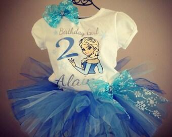 Girls Frozen Birthday Tutu Outfit Elsa Birthday Outfit Elsa Shirt Elsa Tutu Frozen Bow Hairbow Frozen Shirt Frozen Tutu