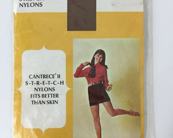 60's Seamless Nylon Stockings Thigh High Garter Stretch Sheer Cantrece II Suntan Size Average