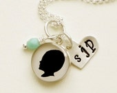 Custom Silhouette Necklace in Sterling with small pendant, Stamped Heart and Dangle of your choice