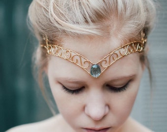 Gold Wire Forehead Jewel Tiara