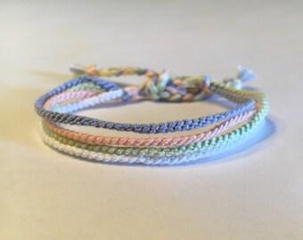 Pastel Blue, Peach, White and Mint Green - Thin Friendship Bracelets