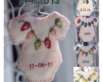 Personalized baby Christmas ornament - DIY kit Choose Your Colors