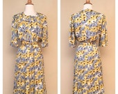 ON SALE 1940s Style Vintage Repro 80s Does 40s 50s Shirt Waist Dress w/ Belt Pastel Yellow and Blue Floral Print Rockabilly Pinup Size Mediu