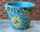 Mosaic Flower Pot Sunflowers Teal large container
