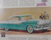 Mid Century 1955 Ford Turquoise Car Advertisement