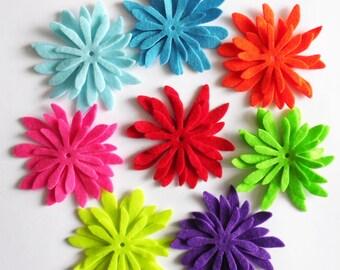 Felt Flower Daisies 8, felt Shapes, set of 24 pieces, Felt flower, Die Cut Shapes, Applique, Party Supply, DIY Wedding,