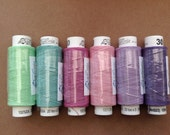 Six spools of Czech cotton lacemaking thread - summer flowers