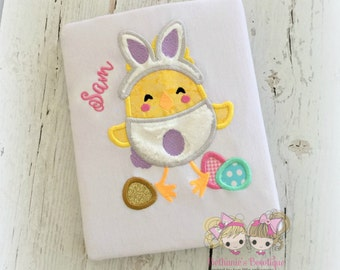 Easter bunny chick shirt - girls Easter shirt - 1st Easter shirt - chick dressed as bunny - embroidered girls Easter shirt with bunny chick