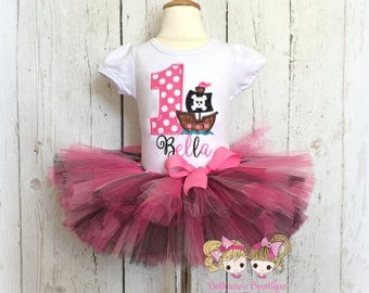 Birthday Pirate Tutu Set- Pirate Ship- Party Outfit, Pirate Costume- Pirate number applique