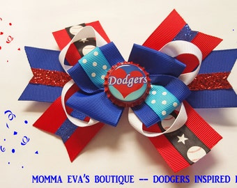 Momma Eva's -- Dodgers Inspired Super Fan Glittering Multi Layered Boutique Hair Bow Design // Medium 4 inch Style //  Ready To SHiP