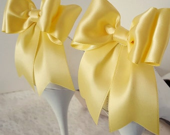 Bow Shoe Clips, Wedding Shoe Clips, Bridal Shoe Clips, Bright Yellow, Shoe CLips,  Shoe Clips for Wedding Shoes, Bridal Shoes, MANY COLORS