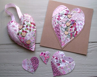 Liberty of London Tana Lawn fabric Crazy Patchwork Heart Card, Doorhanger, 3 x sewn hearts set