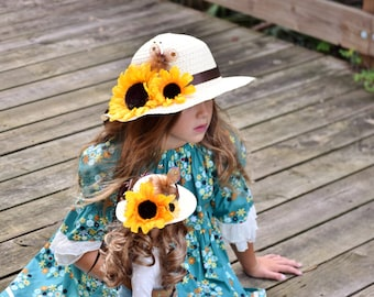 """Doll and Me Clothing - Sunflower Hats - Matching Girl  and Doll Hat - Girl and Doll Clothes - 18"""" Doll Clothes - Easter Bonnet - Spring Hat"""