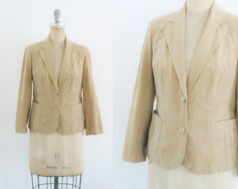 Vintage 1970s Tan Suede Blazer Tan Leather Blazer Leather Jacket Suede Jacket 70s Blazer 70s Jacket Small Medium