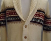 Mens Vintage 80s Button Up Shawl Collar Sweater Size L Images by Man Fare