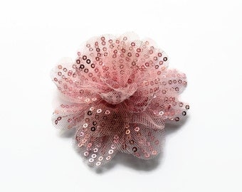 """Sequin and Tulle Flowers. 3.5"""" PINK Sequin Flowers. QTY: 1 Flower.  ~~ Noelly Collection."""