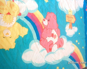 80s Care Bears FLAT Sheet and Pillowcase - Vintage Twin material - Love-a-lot Bedtime Funshine