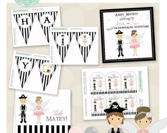 Pirates & Pixie Dust Birthday Party Package- Printable PDF files. Pictured in Pink and Silver- Other color schemes available