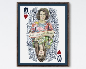 Two Queens - Broad City Painting - Broad City Portrait - Abbi Jacobson - Ilana Glazer - Broad City Portrait - Playing Card - Pop Culture Art