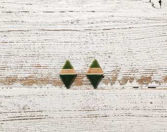 Ceramic Stud Earrings, Green, Rose Gold, Modern, Unique Gift, Fashion, Gift for Her, Ceramics, Diamond Shape Earrings, Ceramic Jewelry